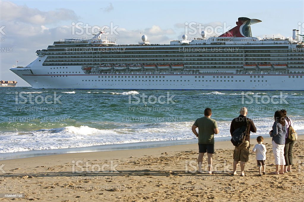 Family Watches Cruise Ship Leave Ft. Lauderdale Port royalty-free stock photo