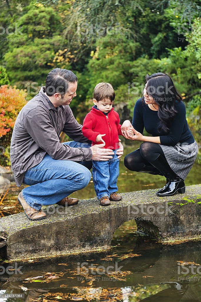 Family Watching Coy Fish at The Park royalty-free stock photo