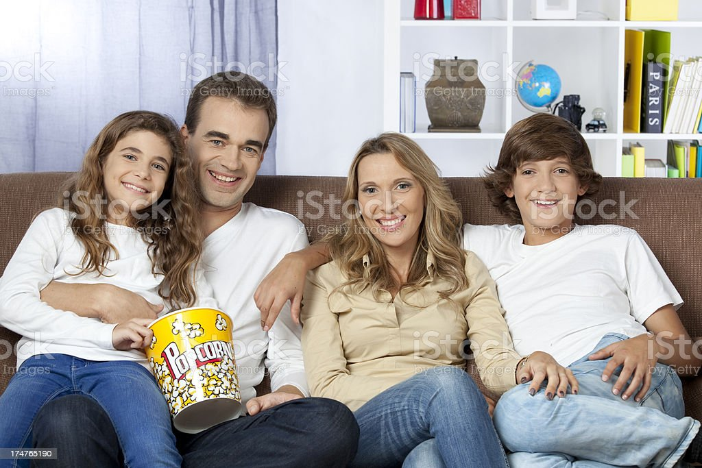 Family Watching Television. royalty-free stock photo