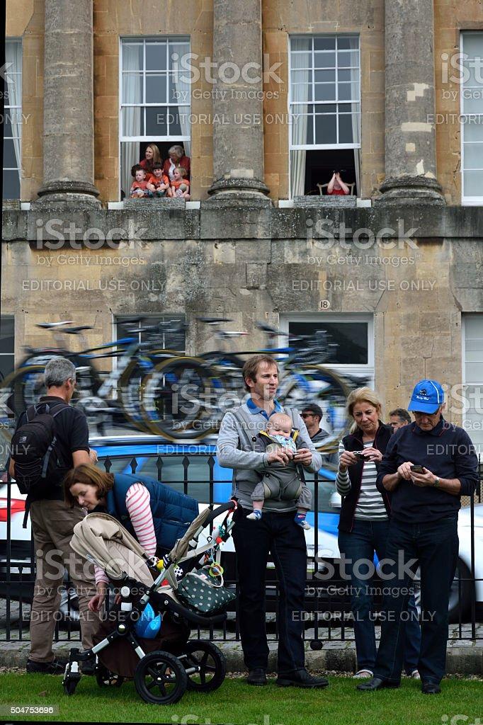 Family watching Tour of Britain stock photo