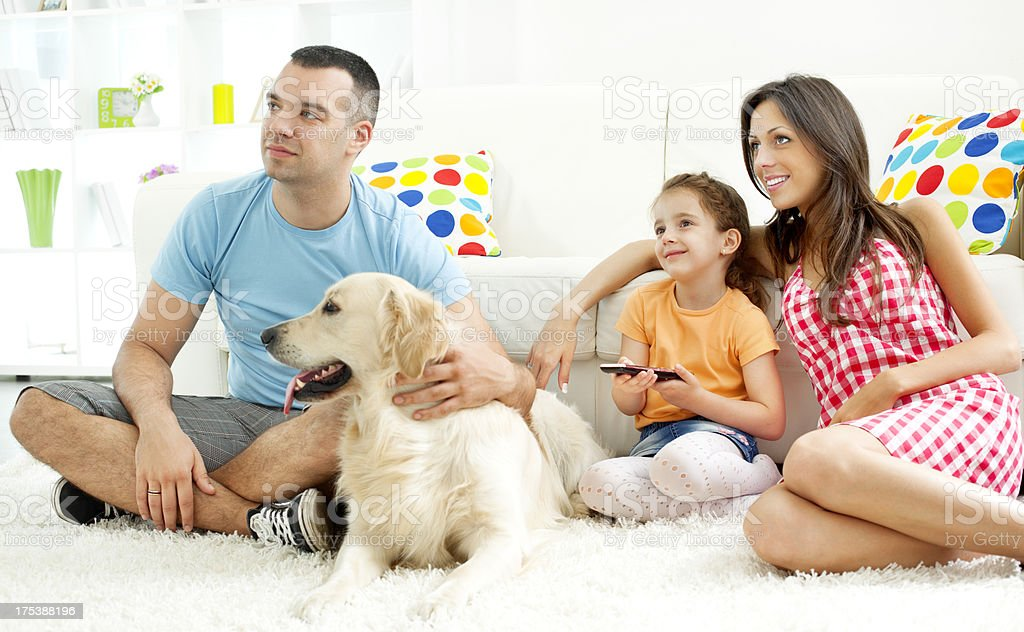 Family Watching TV. royalty-free stock photo