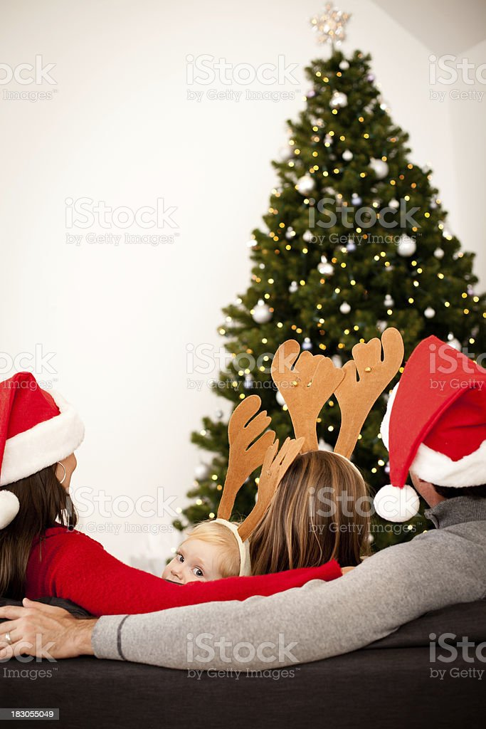 Family Wearing Santa Hats and Reindeer Antlers by Christmas Tree royalty-free stock photo