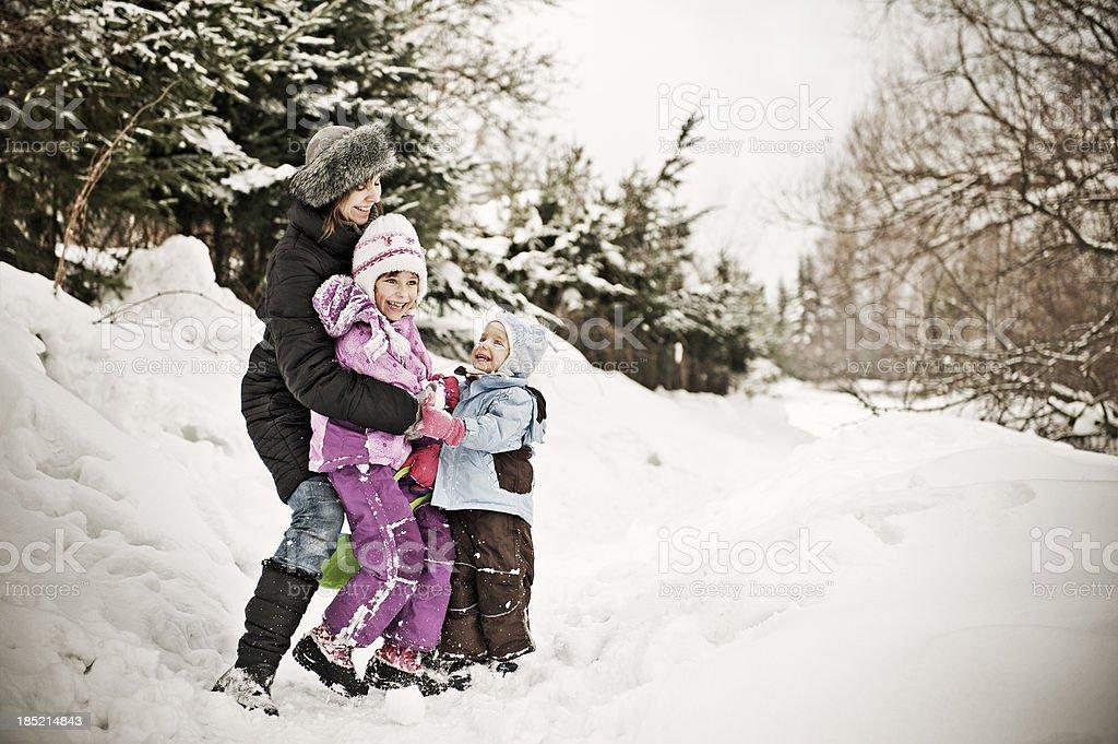 Family winter fun royalty-free stock photo