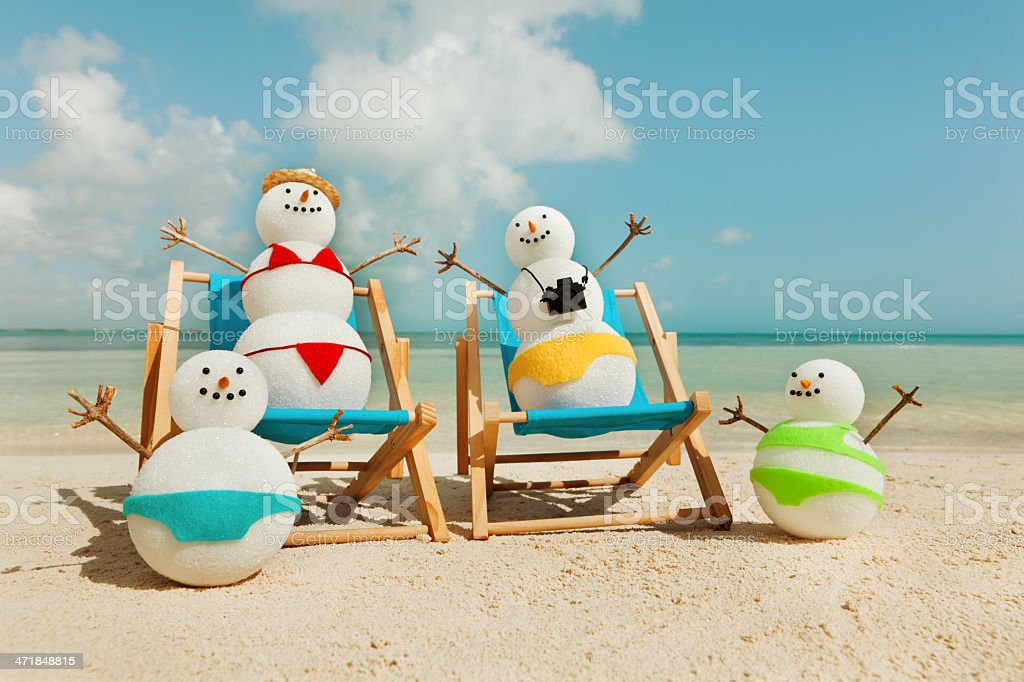 Family Winter Vacation Swimming in Tropical Beach Hz royalty-free stock photo