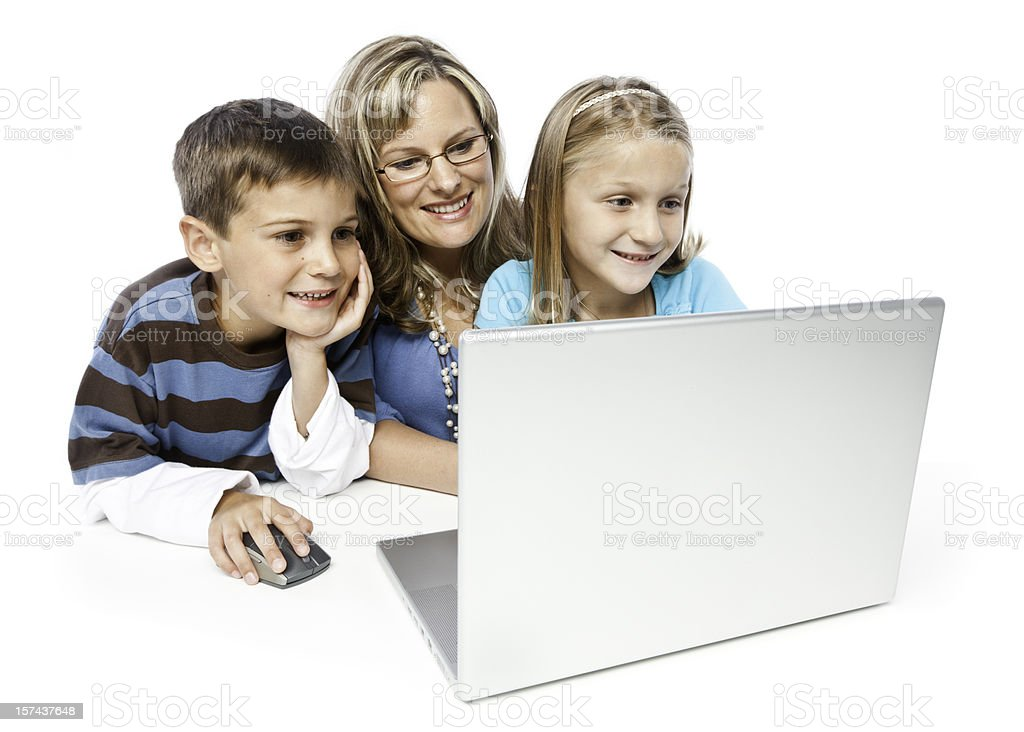 Family with a Computer royalty-free stock photo