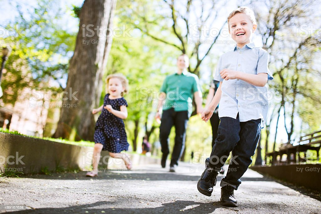 Family with Children Taking a Walk stock photo