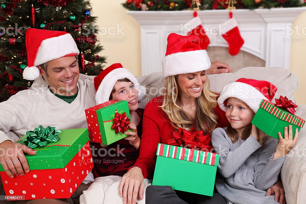 Family With Christmas Gifts royalty-free stock photo