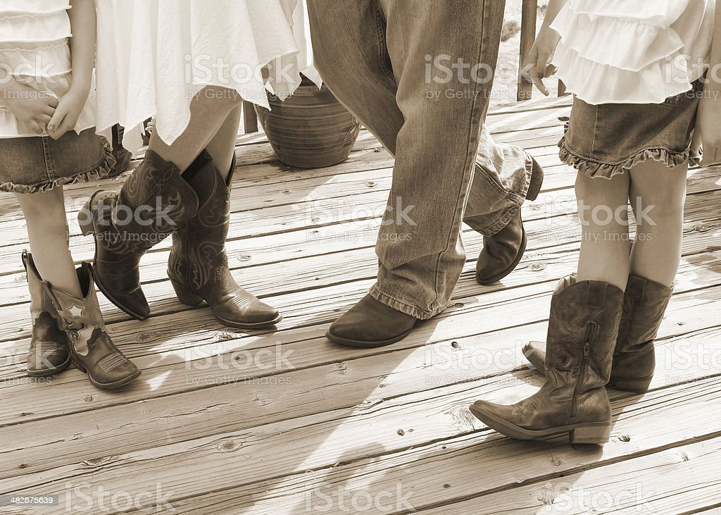 Family with Cowboy Boots stock photo