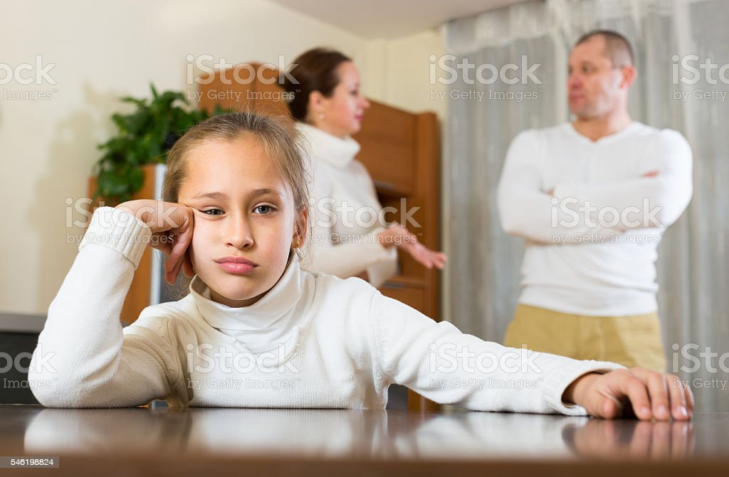 Family with daughter having conflict stock photo
