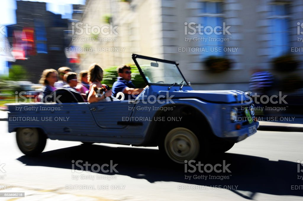 Family with dog enjoying a day out as contestants in Vintage Car Rally, Dinan, France. stock photo
