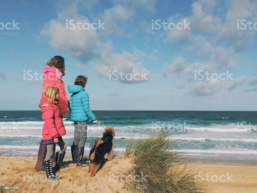 Family with dog looking out to sea stock photo