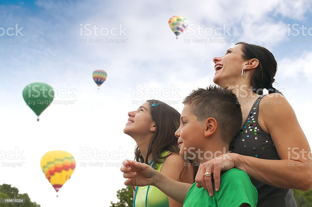 Family with Hot Air Balloons stock photo