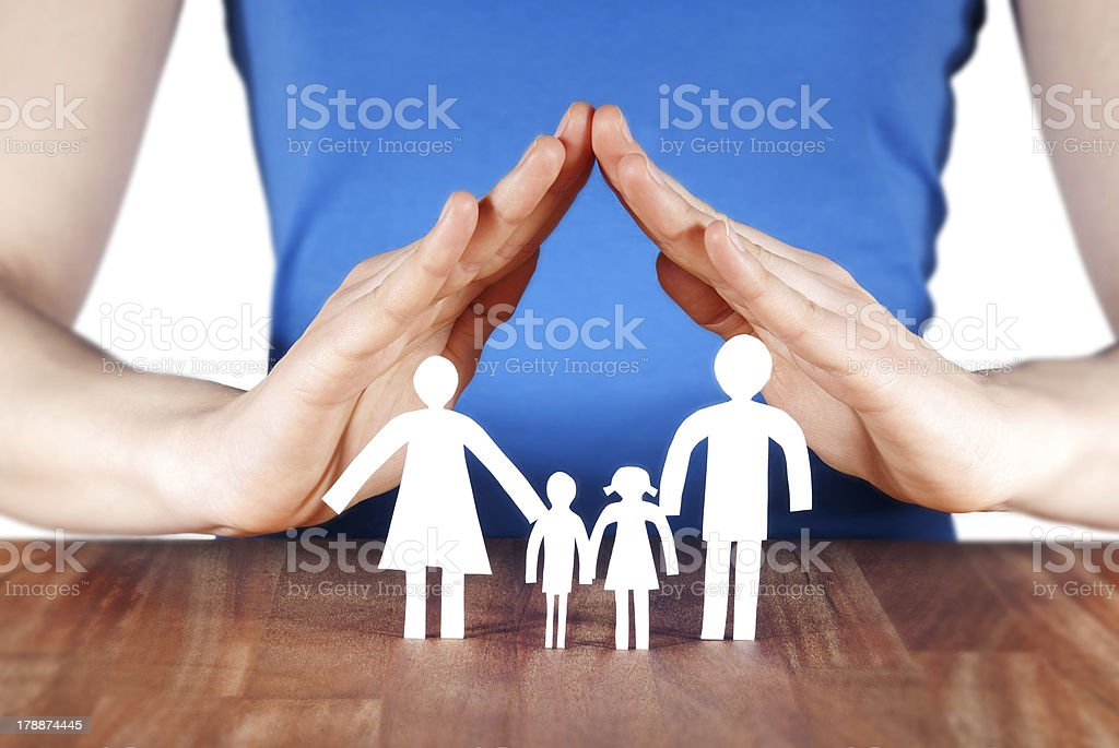 family with house of hands royalty-free stock photo