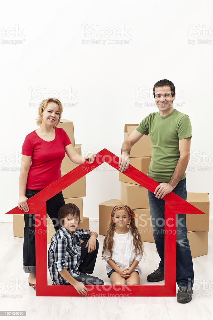 Family with kids buying a new home royalty-free stock photo