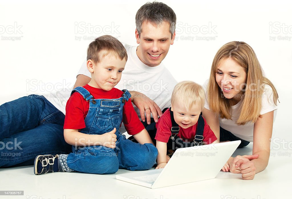 Family with laptop royalty-free stock photo