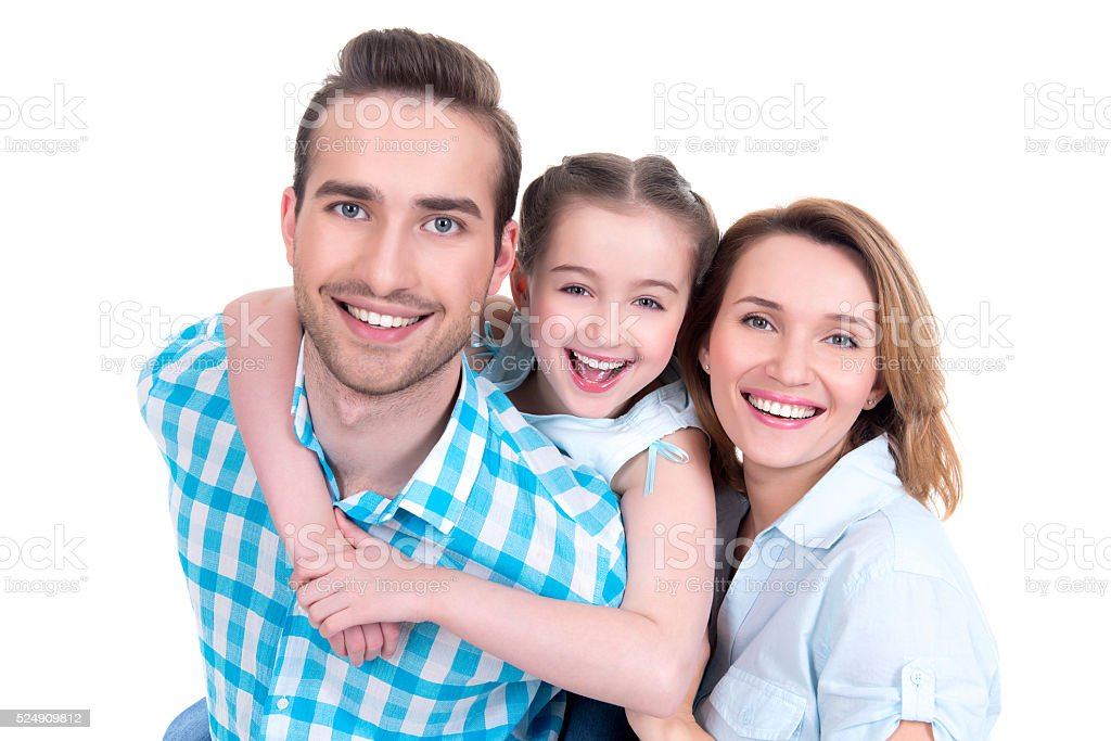 family with little girl and pretty white smiles stock photo