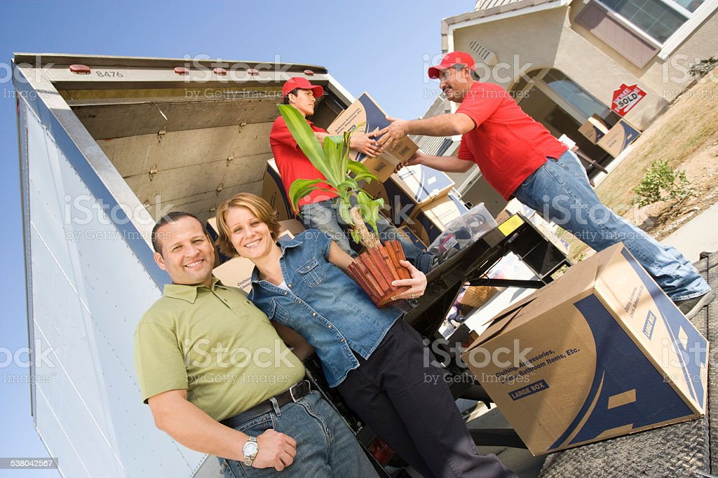 Family with New Home stock photo