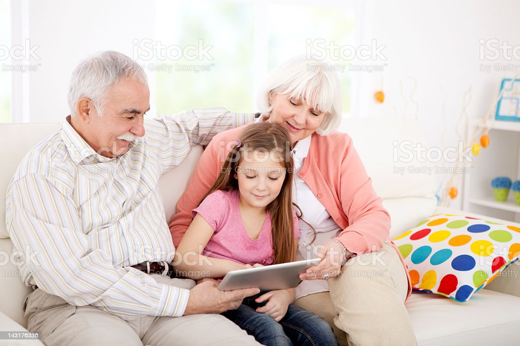 Family with tablet. royalty-free stock photo