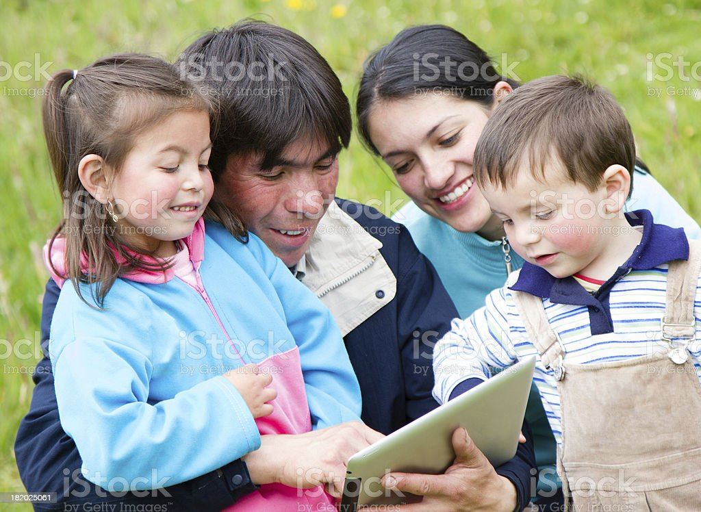 Family with tablet stock photo