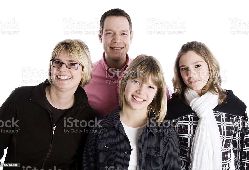 Family with teenage girls royalty-free stock photo