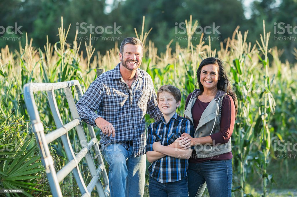 Family with teenage son on a farm by corn field stock photo