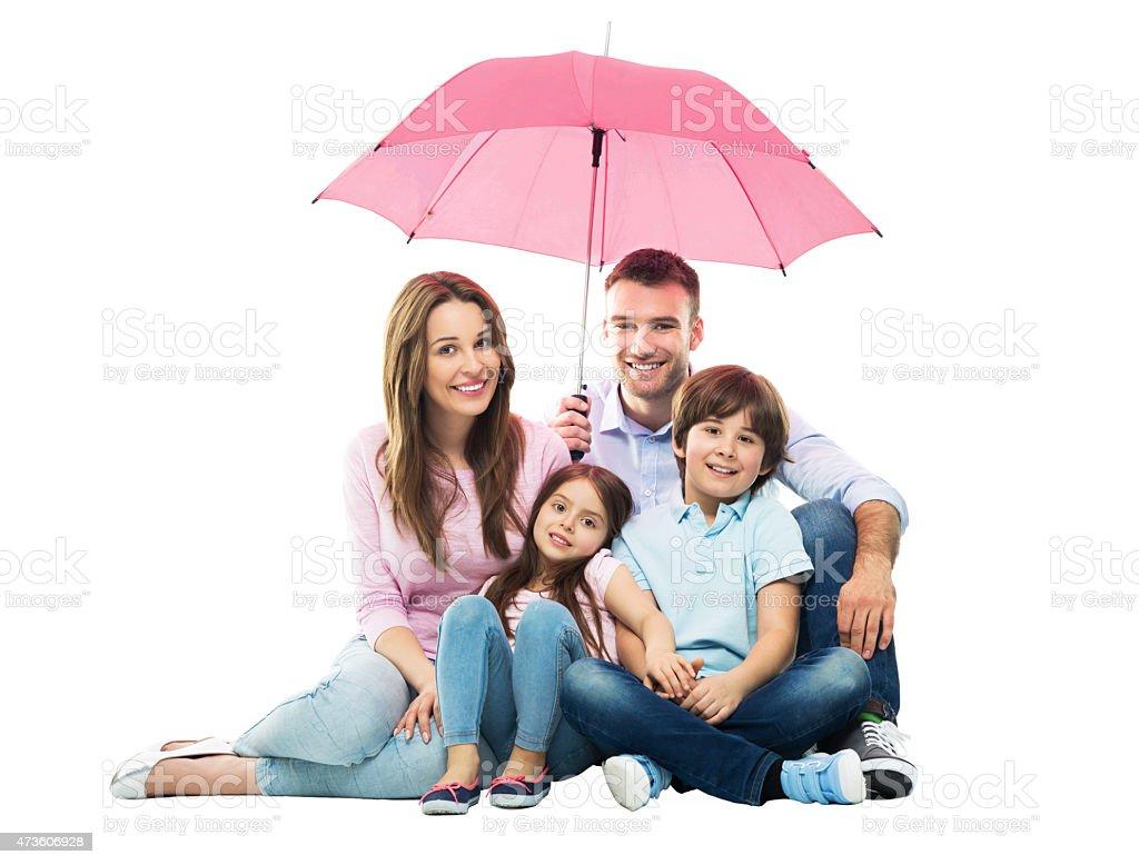 Family with the umbrella stock photo