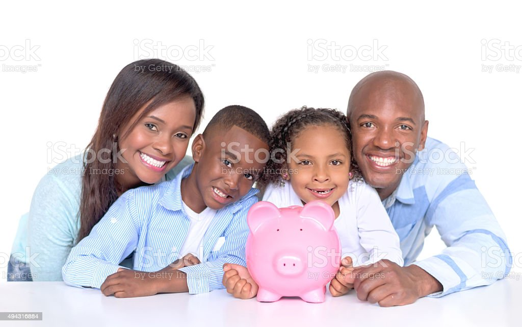 Family with their savings in a piggybank stock photo
