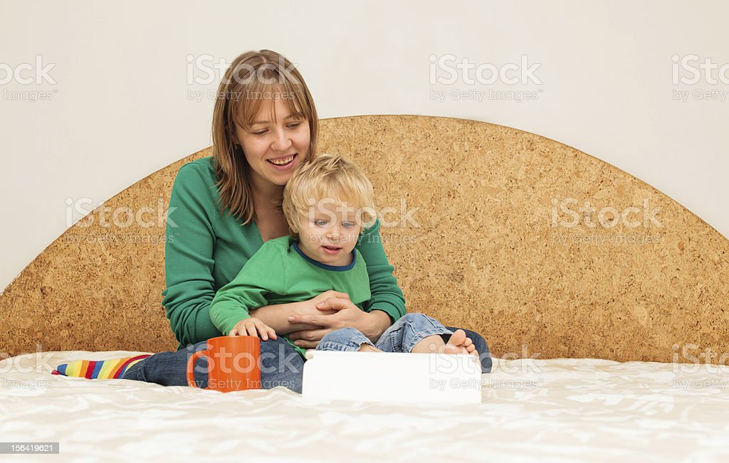 family with touch pad royalty-free stock photo