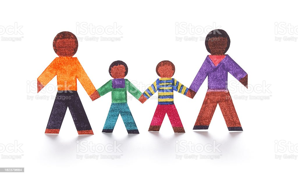 Family with two kids as paper cutouts royalty-free stock photo