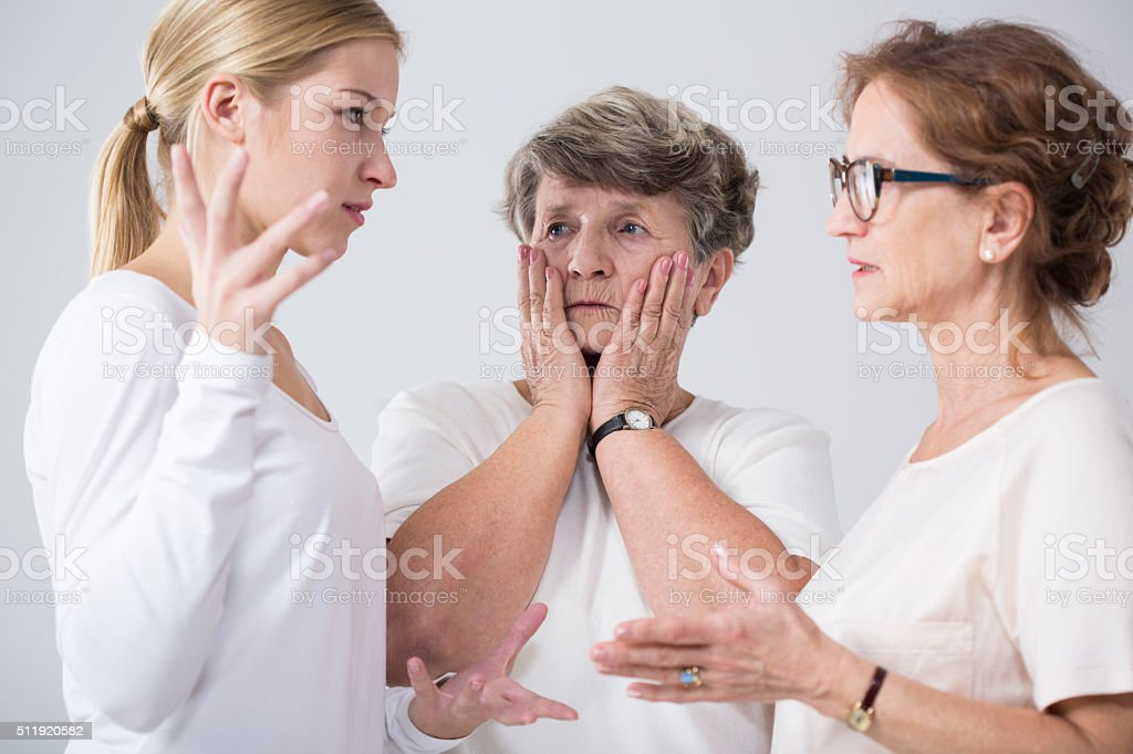 Family women talking together stock photo