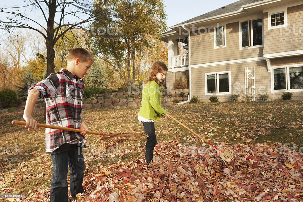 Family Working Together Raking Fall Leaves at Backyard of Home royalty-free stock photo
