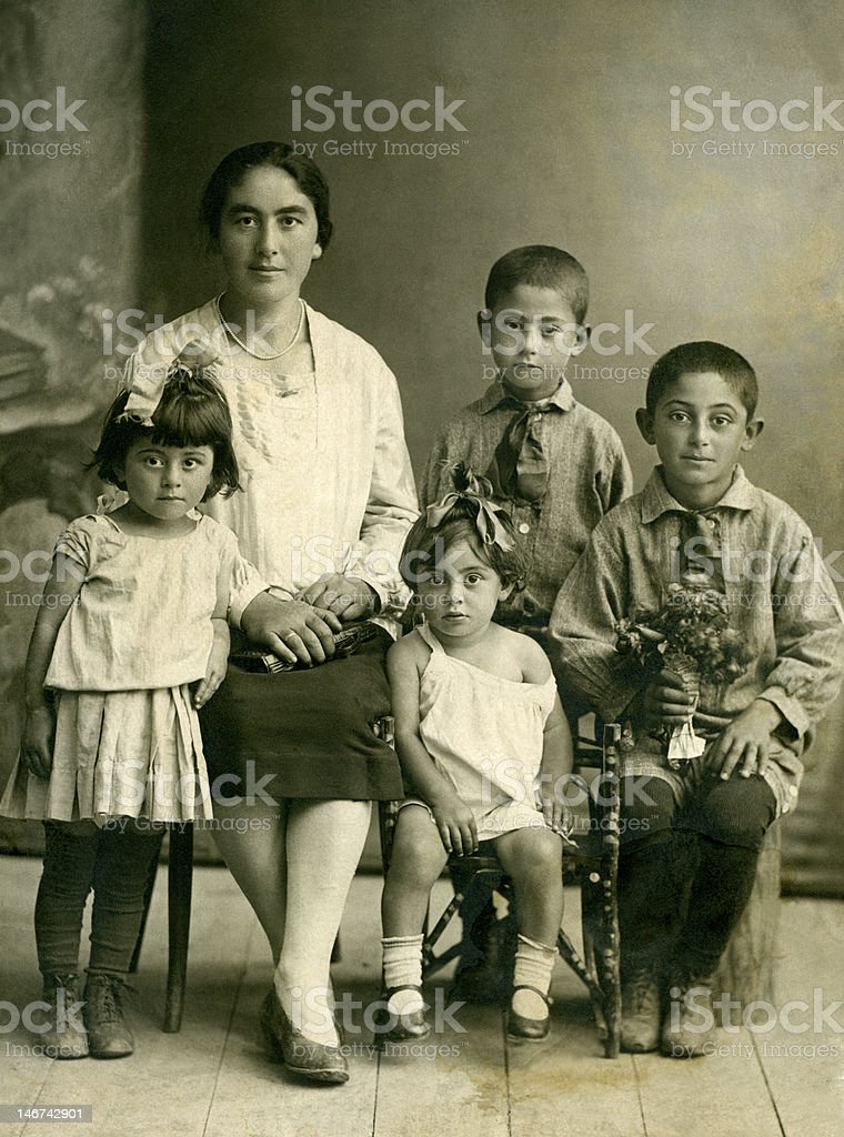 Family.Wintage portrait. stock photo