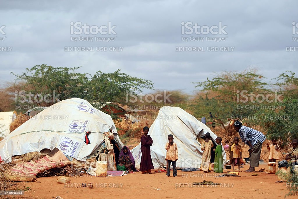 Famine in Africa Dadaab Refugee Camp stock photo