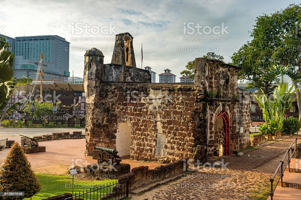 Famosa is a Portuguese fortress located in Malacca stock photo