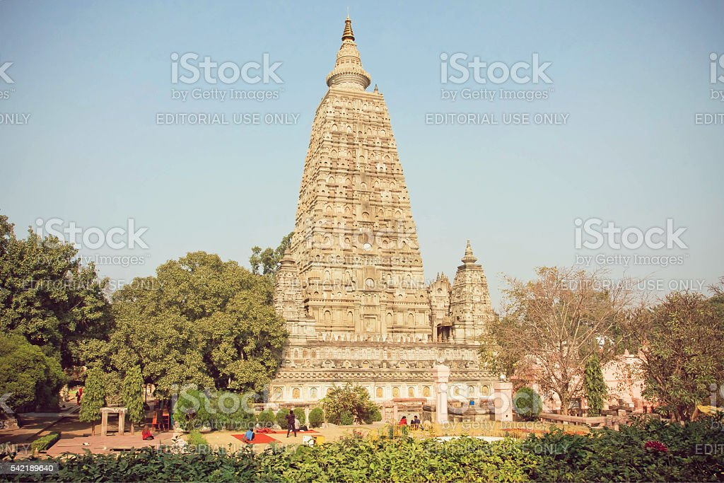 Famous 3rd century BC buddhist Mahabodhi Temple stock photo