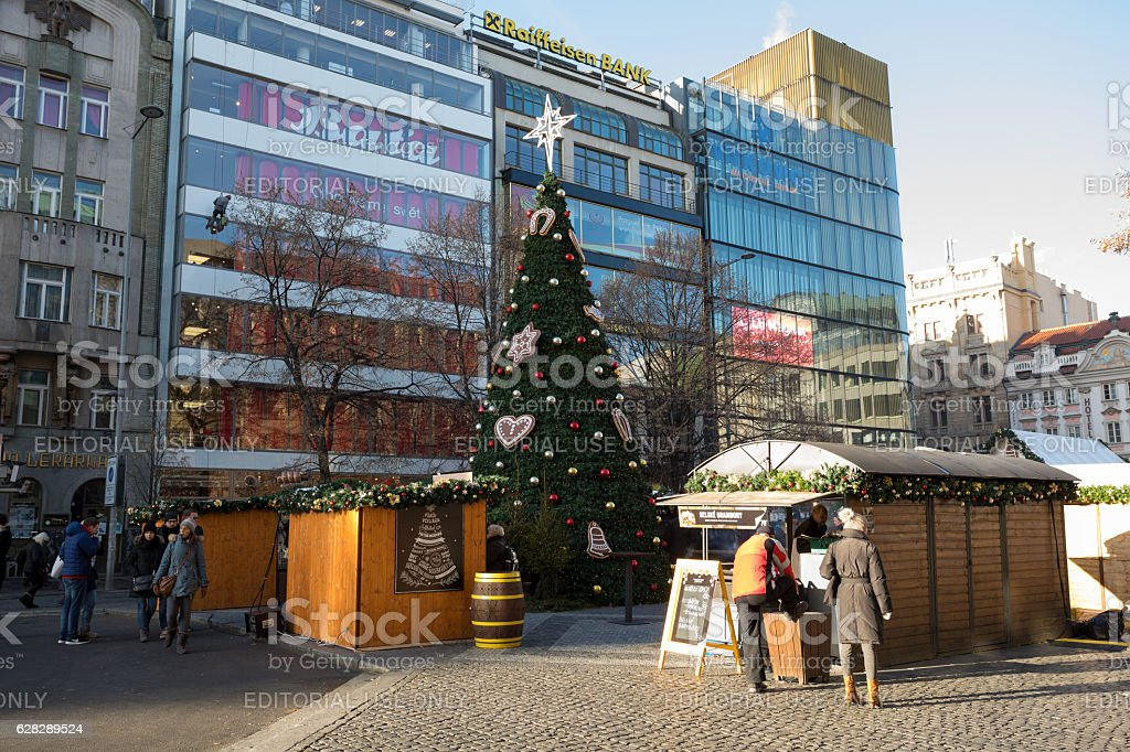 Famous advent Christmas decorated Wenceslas square in Prague stock photo