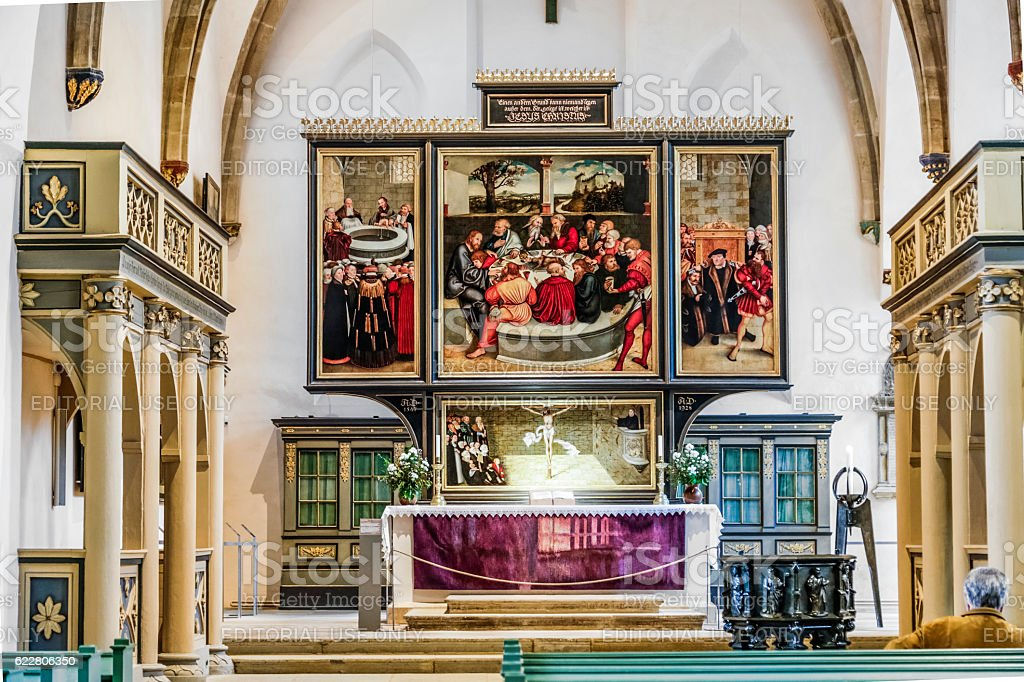 famous altar from Lucas Cranach in the civic church stock photo