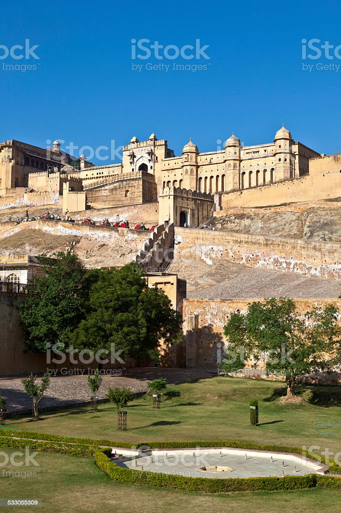 famous Amber Fort in Jaipur stock photo