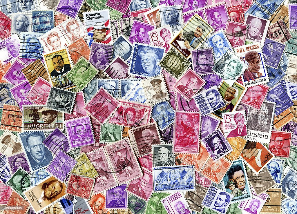 Famous Americans Stamp Background XXXL stock photo