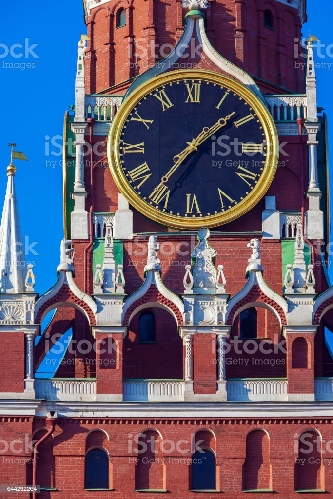 Famous ancient clock on the Spasskaya Tower stock photo