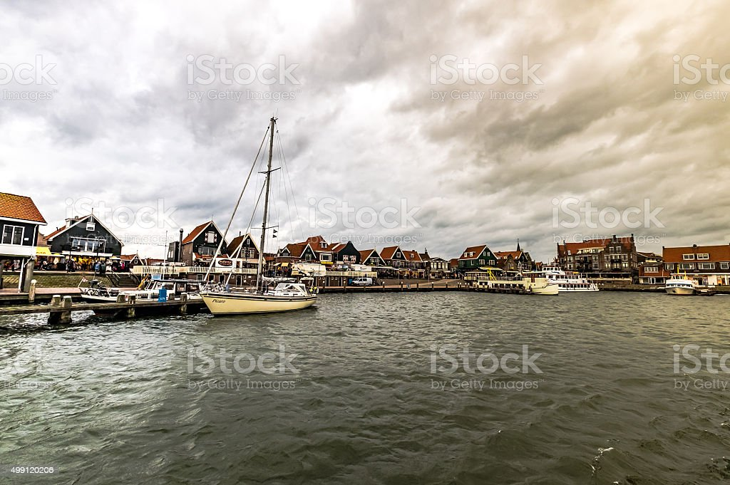 Famous and lively fishing village of Volendam stock photo
