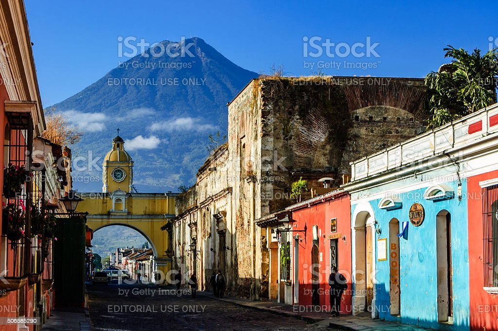 Famous arch and volcano view, Antigua, Guatemala stock photo