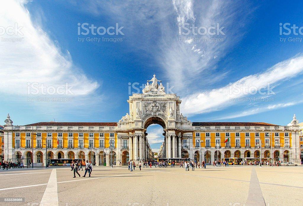 Famous arch at the Praca do Comercio, Lisbon stock photo