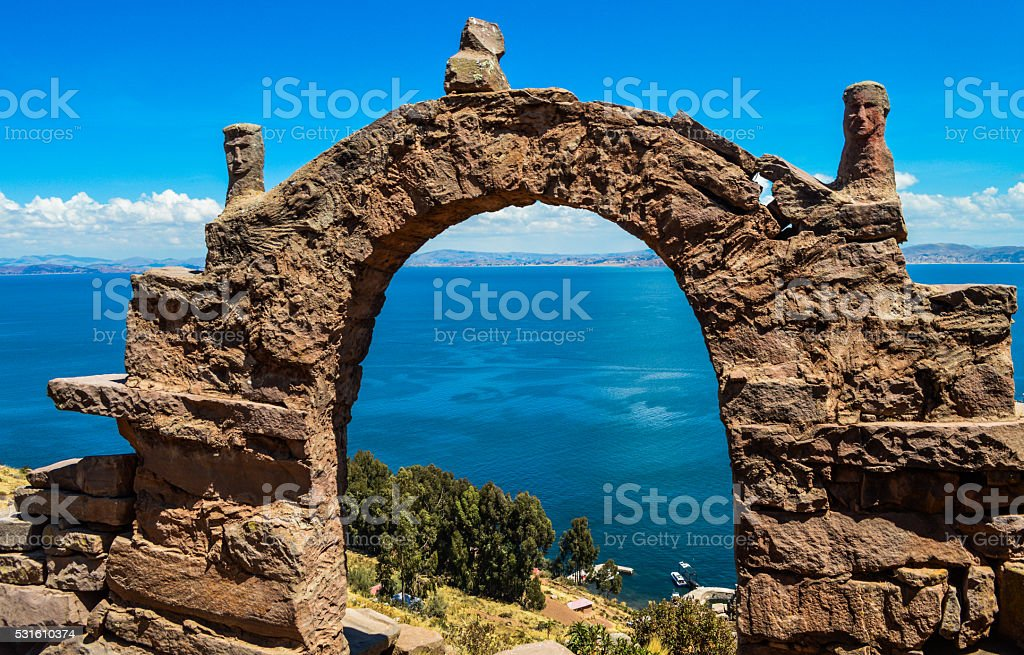 Famous arches on Lake Titicaca - Taquille Island stock photo