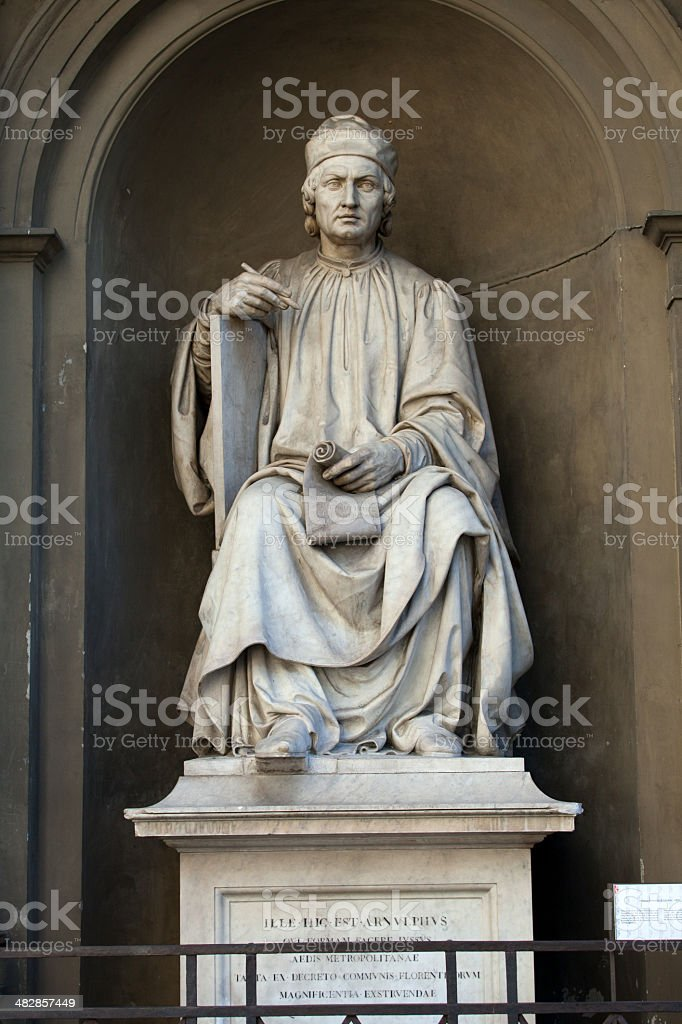 famous architect Arnolfo di Cambio in Florence stock photo