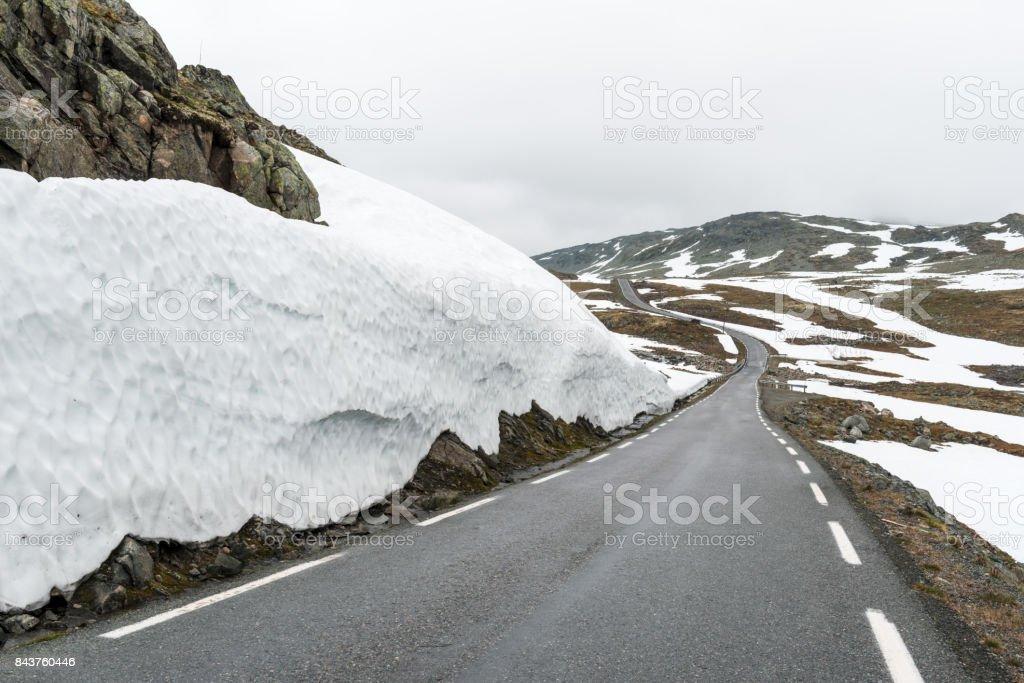 Famous Aurlandsvegen mountain road stock photo