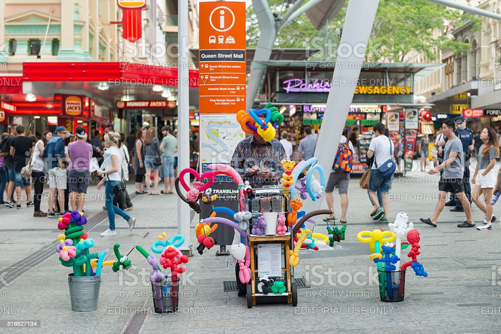 Famous balloon artist in Brisbane Queen Street stock photo