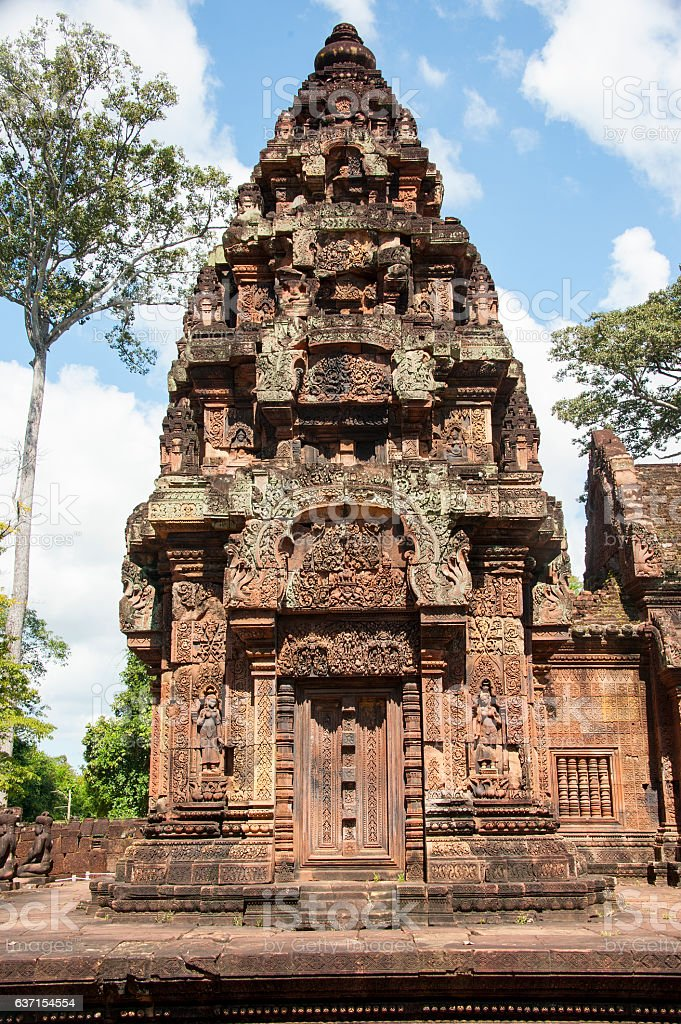 Famous Banteay Srei in Angkor. stock photo