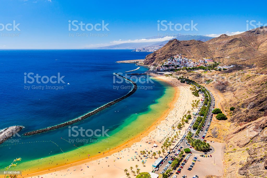 Famous beach and ocean lagoon Playa de las Teresitas stock photo