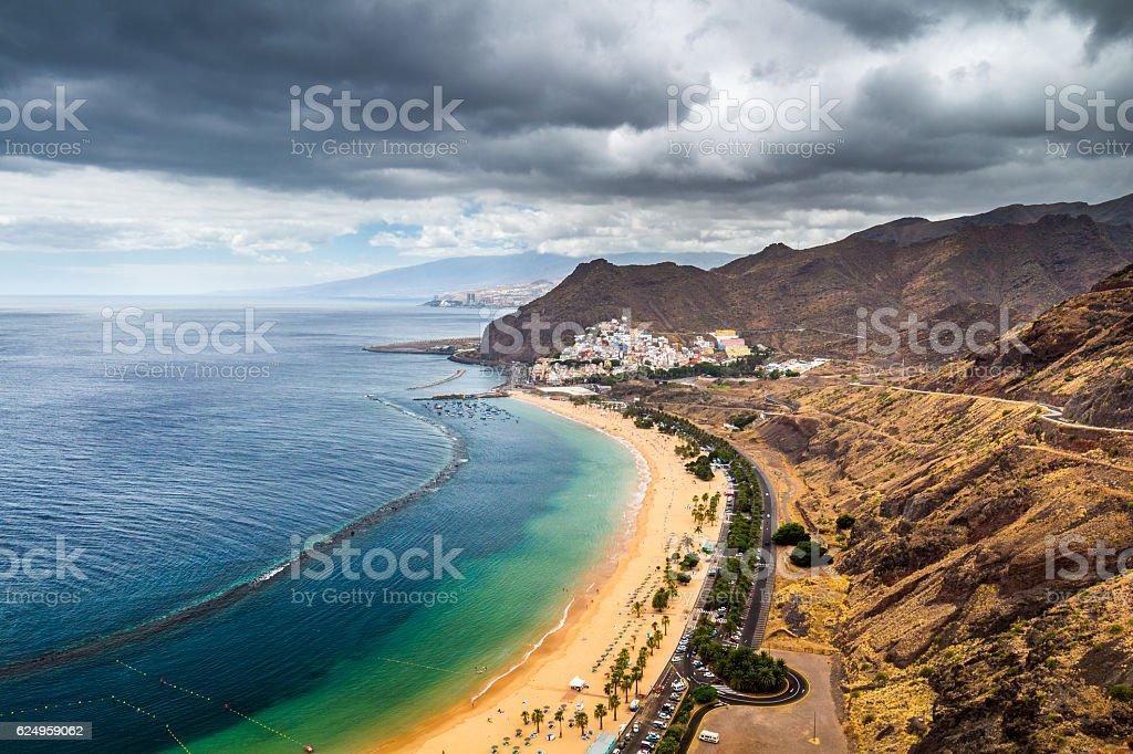 Famous beach and ocean lagoon Playa de las Teresitas stock photo